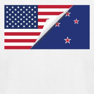 Half American Half New Zealand Flag - Men's T-Shirt by American Apparel