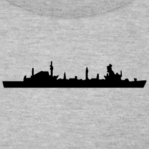 Vector Navy warship Silhouette - Men's T-Shirt by American Apparel