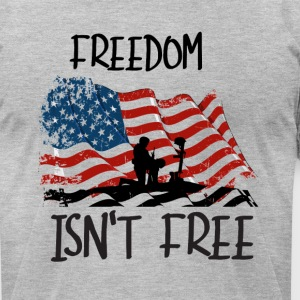 Freedom isn't free flag with fallen soldier design - Men's T-Shirt by American Apparel