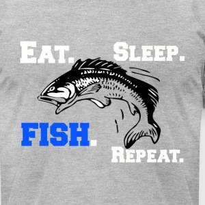 Funny Eat Sleep Fish Repeat Novelty Cool Apparel - Men's T-Shirt by American Apparel