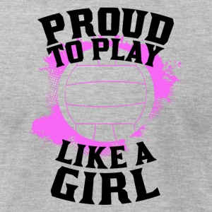 Proud To Play Like A Girl Volleyball - Men's T-Shirt by American Apparel