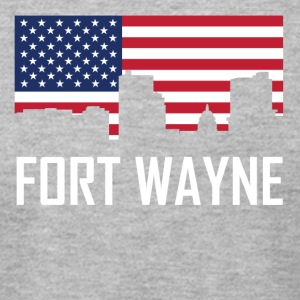 Fort Wayne Indiana Skyline American Flag - Men's T-Shirt by American Apparel