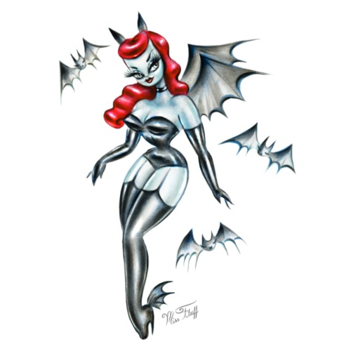 Vampire Bat Pinup Girl - Unisex Jersey T-Shirt by Bella + Canvas