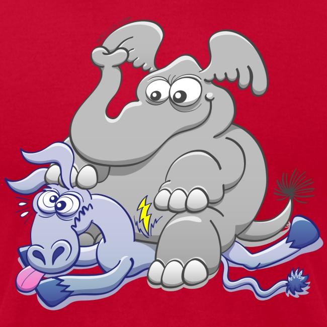 Elephant Sitting on Donkey and Squashing it