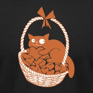 Valentine Cat in Basket of Hearts - Men's T-Shirt by American Apparel
