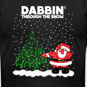 Cute Funny Santa Dabbing Through the Snow - Men's T-Shirt by American Apparel