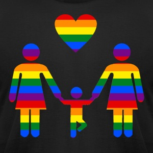 Rainbow Family lesbian family from Bent Sentiments - Men's T-Shirt by American Apparel
