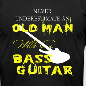 Old Man With A Bass Guitar T Shirt - Men's T-Shirt by American Apparel