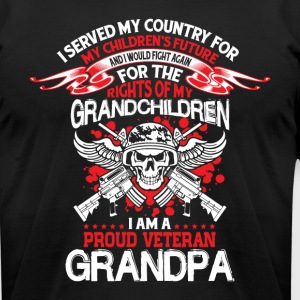 I Am A Proud Veteran Grandpa T Shirt - Men's T-Shirt by American Apparel
