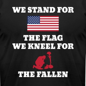 We Stand For The Flag We Kneel For The Fallen - Men's T-Shirt by American Apparel