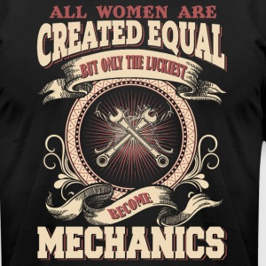The Luckiest Women Become Mechanic - Men's T-Shirt by American Apparel