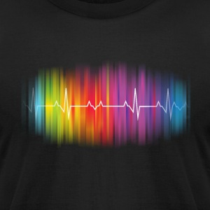 Gay Pride Heartbeat - Men's T-Shirt by American Apparel
