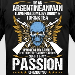 Im An Argentineanman I Love Freedom Love Rugby - Men's T-Shirt by American Apparel