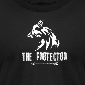 Wolf: The Protector (White) - Men's T-Shirt by American Apparel