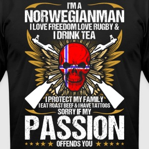 Im A Norwegianman I Love Freedom Love Rugby - Men's T-Shirt by American Apparel