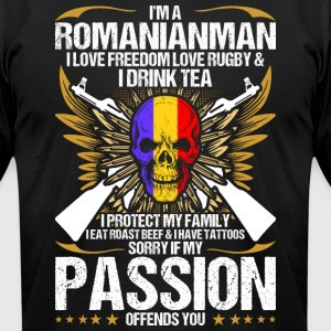 Im A Romanianman I Love Freedom Love Rugby - Men's T-Shirt by American Apparel