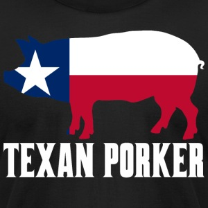 Texan Porker State Flag Pig Pork BBQ - Men's T-Shirt by American Apparel