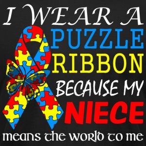 I Wear Puzzle Ribbon My Niece Means World To Me - Men's T-Shirt by American Apparel