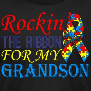 Rockin The Ribbon For My Grandson Awareness - Men's T-Shirt by American Apparel