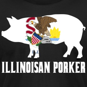 Illinoisan Porker State Flag Pig Pork BBQ - Men's T-Shirt by American Apparel