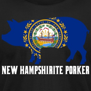 New Hampshirite Porker State Flag Pig Pork BBQ - Men's T-Shirt by American Apparel