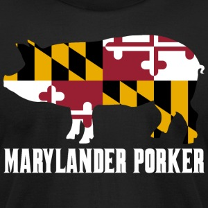 Marylander Porker State Flag Pig Pork BBQ - Men's T-Shirt by American Apparel