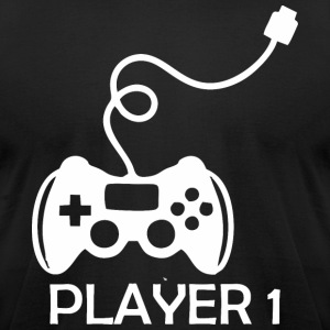 Player 1 Gamer Happy Fathers Day - Men's T-Shirt by American Apparel