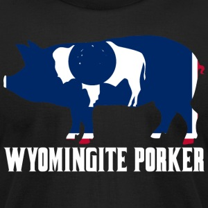 Wyomingite Porker State Flag Pig Pork BBQ - Men's T-Shirt by American Apparel