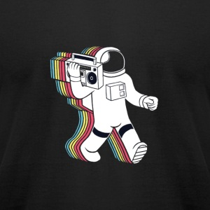 Rainabow astronaut with radio...? - Men's T-Shirt by American Apparel