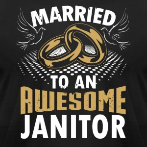 Married To An Awesome Janitor - Men's T-Shirt by American Apparel