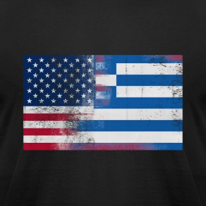 Greek American Half Greece Half America Flag - Men's T-Shirt by American Apparel