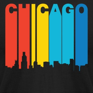 Retro 1970's Style Chicago Illinois Skyline - Men's T-Shirt by American Apparel