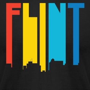 Retro 1970's Style Flint Michigan Skyline - Men's T-Shirt by American Apparel