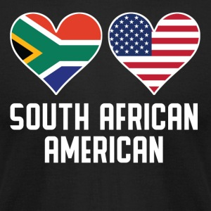 South African American Heart Flags - Men's T-Shirt by American Apparel
