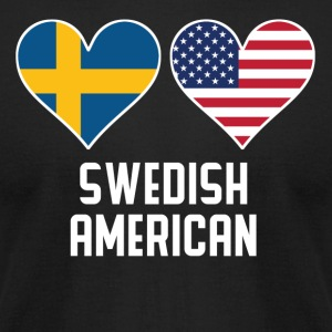 Swedish American Heart Flags - Men's T-Shirt by American Apparel