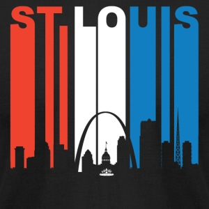 Red White And Blue St. Louis Missouri Skyline - Men's T-Shirt by American Apparel