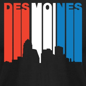 Red White And Blue Des Moines Iowa Skyline - Men's T-Shirt by American Apparel