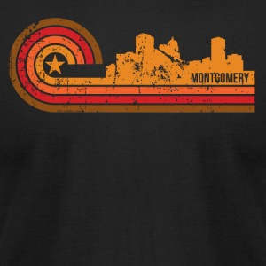 Retro Style Montgomery Alabama Skyline Distressed - Men's T-Shirt by American Apparel