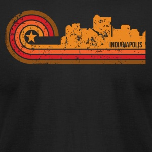 Retro Style Indianapolis Indiana Skyline - Men's T-Shirt by American Apparel