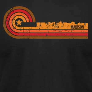 Retro Style Madison Wisconsin Skyline Distressed - Men's T-Shirt by American Apparel