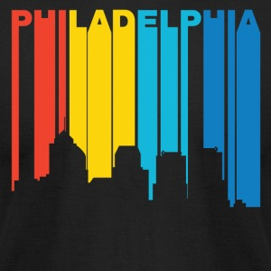 Retro 1970's Style Philadelphia PA Skyline - Men's T-Shirt by American Apparel