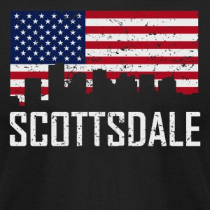 Scottsdale Arizona Skyline American Flag - Men's T-Shirt by American Apparel