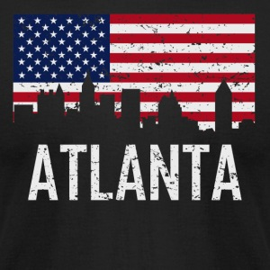 Atlanta Georgia Skyline American Flag Distressed - Men's T-Shirt by American Apparel
