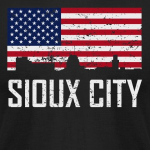 Sioux City Iowa Skyline American Flag Distressed - Men's T-Shirt by American Apparel