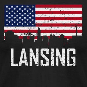 Lansing Michigan Skyline American Flag Distressed - Men's T-Shirt by American Apparel