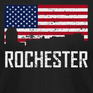 Rochester Minnesota Skyline American Flag - Men's T-Shirt by American Apparel