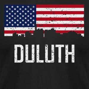 Duluth Minnesota Skyline American Flag Distressed - Men's T-Shirt by American Apparel