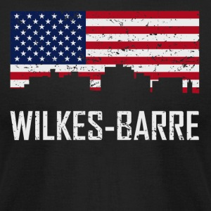 Wilkes-Barre Pennsylvania Skyline American Flag - Men's T-Shirt by American Apparel