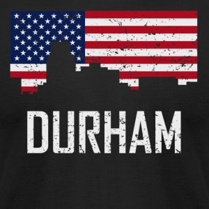 Durham North Carolina Skyline American Flag - Men's T-Shirt by American Apparel