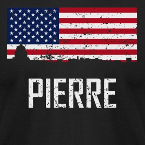 Pierre South Dakota Skyline American Flag - Men's T-Shirt by American Apparel